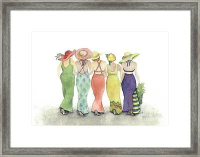 Beach Babes In Coverups And Hats Ready For A Day In The Sun Framed Print by Nan Wright