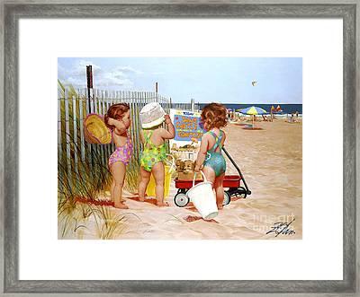 Beach Babies Framed Print by Donald Zolan