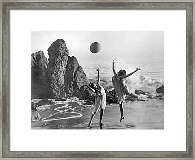 Beach Ball Dancing Framed Print by Underwood Archives