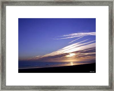 Beach Blue Sunset Framed Print by Barbara St Jean