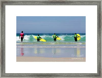 Beach Boys Go Surfing Framed Print by Terri Waters