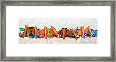 Beach Bunnies Art By Betty Cummings Framed Print by Sharon Cummings