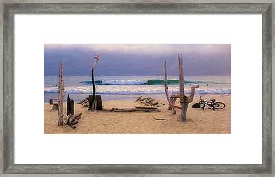 Beach Camp At Trestles Framed Print by Ron Regalado