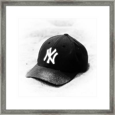 Beach Cap Black And White Framed Print by John Rizzuto