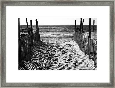Beach Entry Black And White Framed Print by John Rizzuto
