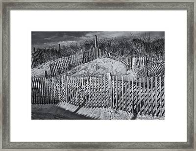 Beach Fence Bw Framed Print by Susan Candelario