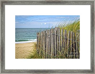 Beach Fence Framed Print by Elena Elisseeva
