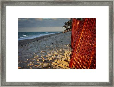 Beach Fence Framed Print by Laura Fasulo