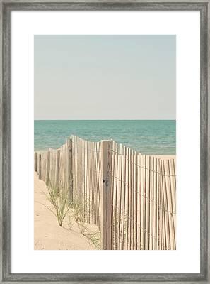 Beach Fence Ocean Shabby Photograph Framed Print by Elle Moss