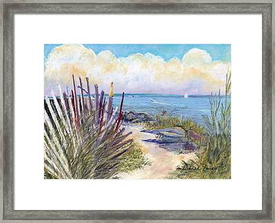 Beach Fence With Ferry Framed Print by Deborah Burow