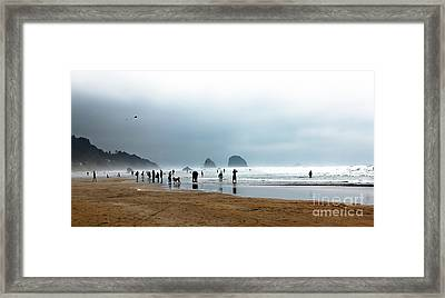 Beach Fun At Ecola  Framed Print by Robert Bales