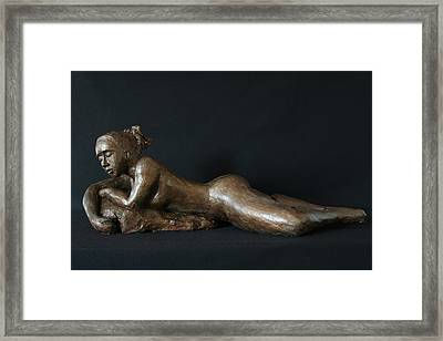 Beach Girl - Profil Framed Print by Flow Fitzgerald