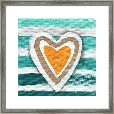 Beach Glass Hearts Framed Print by Linda Woods