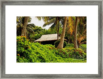 Beach Hut Painting Framed Print by Cheryl Young