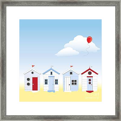 Beach Huts Framed Print by Jane Rix