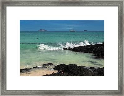 Beach, Las Bachas Santa Cruz Island Framed Print by Pete Oxford