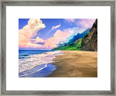 Beach On The Na Pali Coast Framed Print by Dominic Piperata