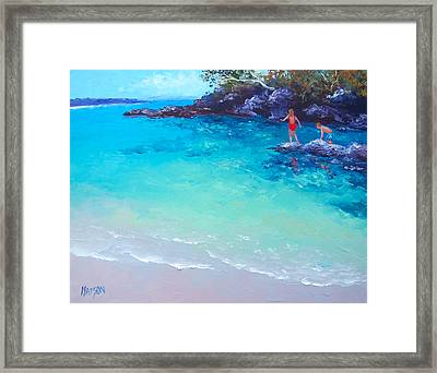 Beach Painting - A Day To Remember Framed Print by Jan Matson