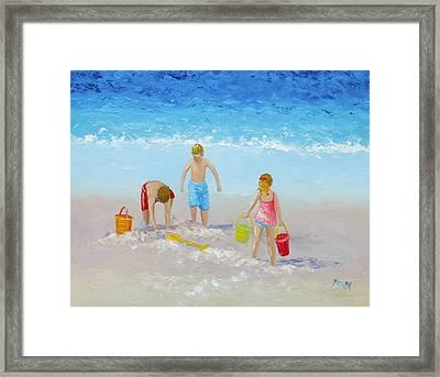 Beach Painting - Sandcastles Framed Print by Jan Matson