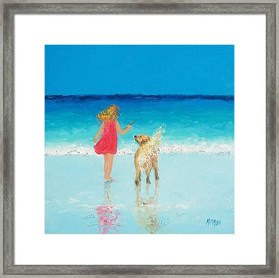 Beach Painting 'sunkissed Hair'  Framed Print by Jan Matson
