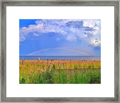 Beach Rainbow - Rehoboth Beach Delaware Framed Print by Kim Bemis