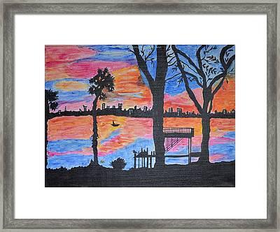Beach Silhouette Framed Print by Sonali Gangane