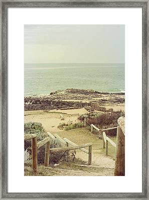 Beach Steps Framed Print by Elaine Teague