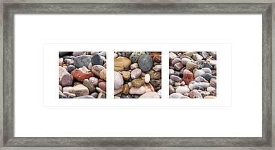 Beach Stones Triptych Framed Print by Stelios Kleanthous