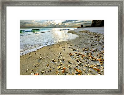 Beach Sunset And Seashells Framed Print by Eszra Tanner