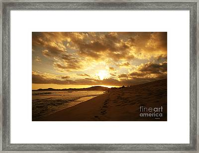 Beach Sunset Framed Print by Cheryl Young