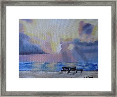 Beach Sunset Framed Print by Melissa Torres