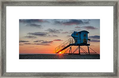 Beach Tower Wide Screen Framed Print by Peter Tellone