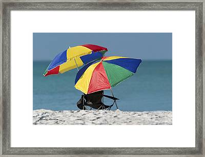 Beach Umbrellas Framed Print by Gerald Marella