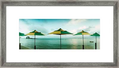 Beach Umbrellas, Morro De Sao Paulo Framed Print by Panoramic Images
