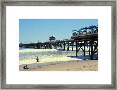 Beach View With Pier 1 Framed Print by Ben and Raisa Gertsberg