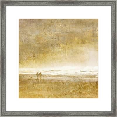 Beach Walk Square Framed Print by Carol Leigh