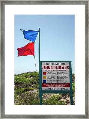 Beach Warning Flags Framed Print by Jim West