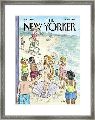 Beachgoers Take Pictures On Their Cellphones Framed Print by Roz Chast