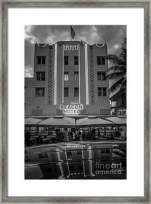Beacon Hotel Art Deco District Sobe Miami - Black And White Framed Print by Ian Monk