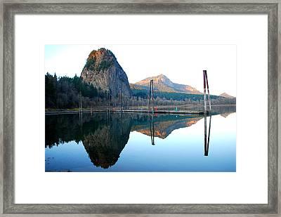 Beacon Rock Reflecions Framed Print by Kathy Sampson