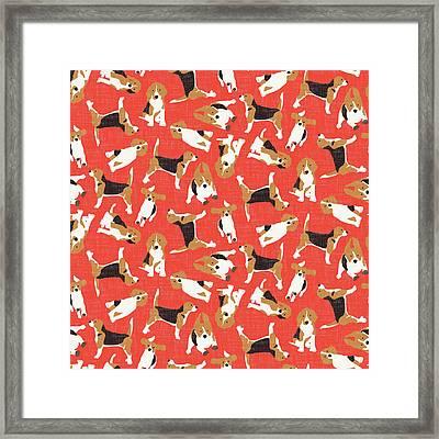 Beagle Scatter Coral Red Framed Print by Sharon Turner