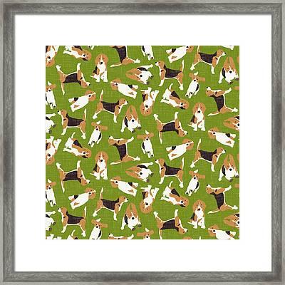 Beagle Scatter Green Framed Print by Sharon Turner