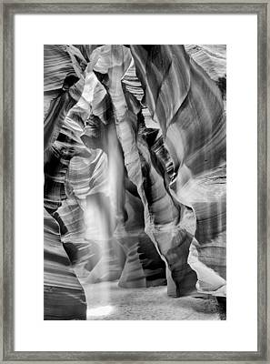 Beam Of Light In Upper Antelope Canyon In Black And White Framed Print by Susan  Schmitz