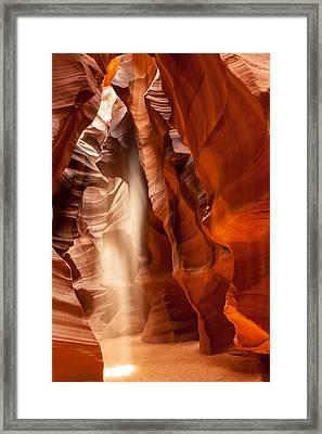 Beam Of Light In Upper Antelope Canyon Framed Print by Susan Schmitz