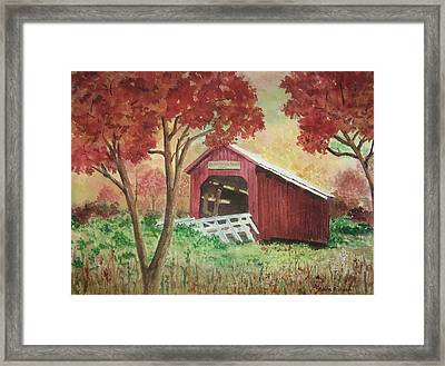 Bean Blossom Covered Bridge Framed Print by Anita Riemen