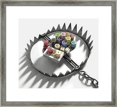 Bear Trap With Gambling Chips And Cards Framed Print by Ktsdesign