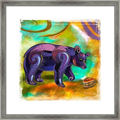 Bears Love Burger Framed Print by Bedros Awak