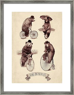 Bears On Bicycles Framed Print by Eric Fan