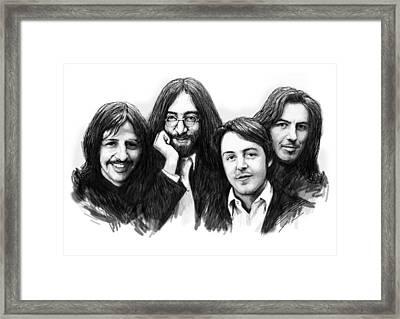 Beatles Blackwhite Drawing Sketch Poster Framed Print by Kim Wang