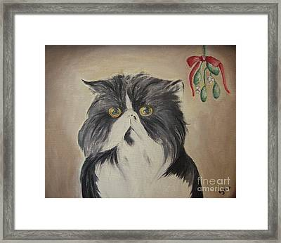 Beau With Mistletoe Framed Print by Victoria Lakes